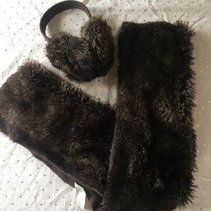 Loft brown faux fur infinity scarf & earmuffs set